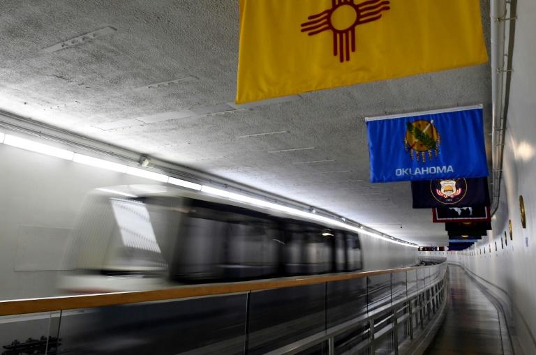 Un train du Sénat américain sur les rails installés dans les sous-sols du Capitole, le 17 septembre 2021