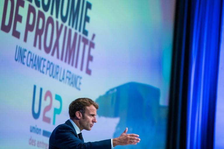 Emmanuel Macron devant les membres de l'U2P, à Paris le 16 septembre 2021