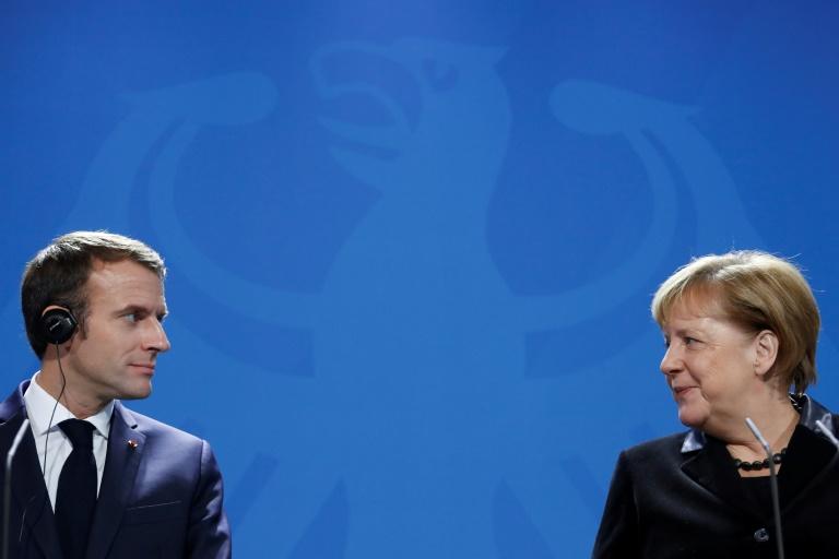 Le président français Emmanuel Macron et la chancelière allemande Angela Merkel, le 18 novembre 2018 à Berlin