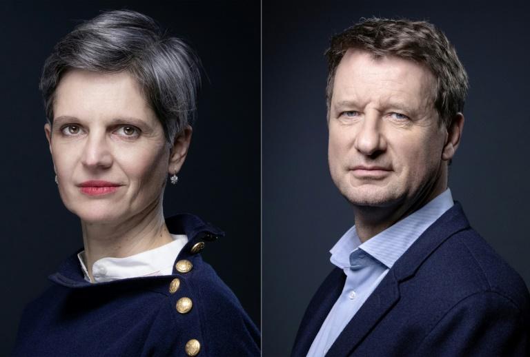 Montage de deux photos d'archives de Sandrine Rousseau (L) le 10 décembre 2020 et de Yannick Jadotle 9 décembre 2020 lors de séances photo à Paris