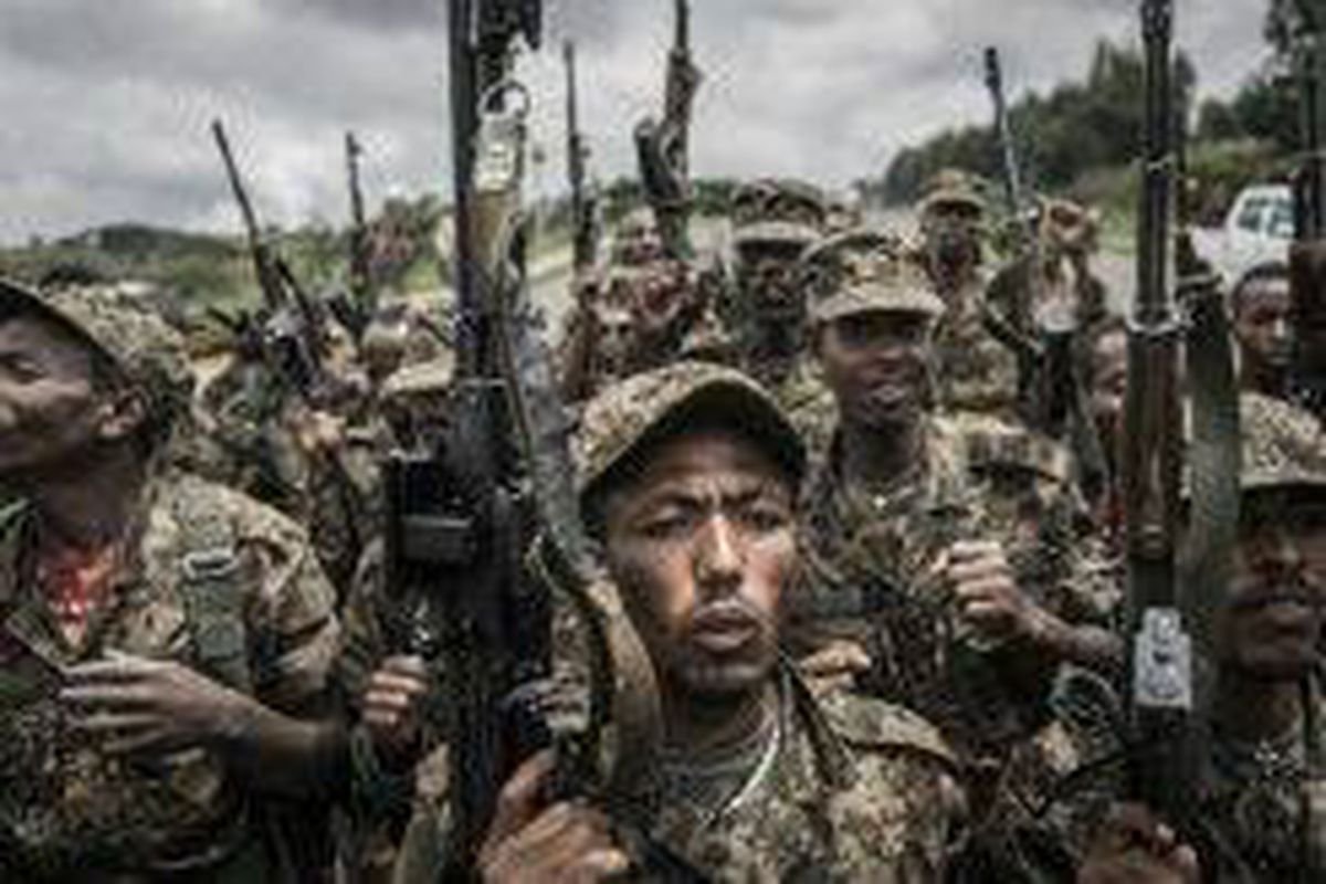 <p/>Des soldats éthiopiens à l'exercice à Dabat, au nord-est de Gondar, le 14                 </div>             </div>          </div>                   <div class=