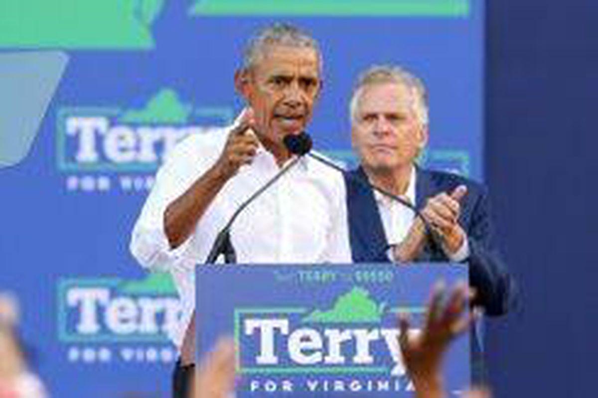 <p/>L'ancien président américain Barack Obama en campagne en Virginie pour so                 </div>             </div>          </div>                   <div class=