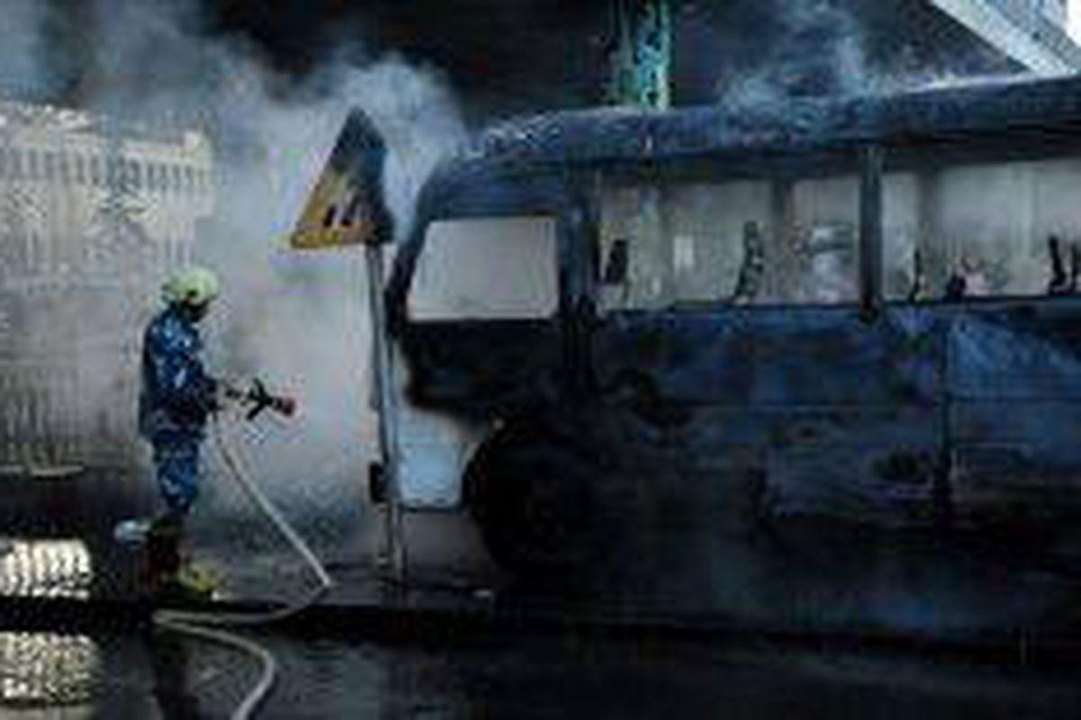 <p/>Photo publiée par l'agence de presse syrienne Sana montrant un bus milita                 </div>             </div>          </div>                   <div class=